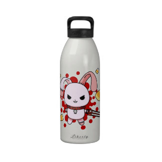 Cute Kawaii evil bunny with chainsaw Reusable Water Bottles