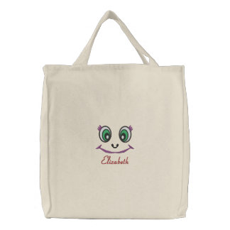 Cute Kawaii Eyes and Smile Nameplate Monogram Embroidered Tote Bag