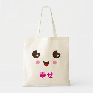 Cute kawaii face with pink kanji happy tote bag