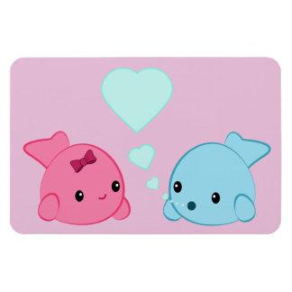 Cute kawaii fish in love bubble heart magnet