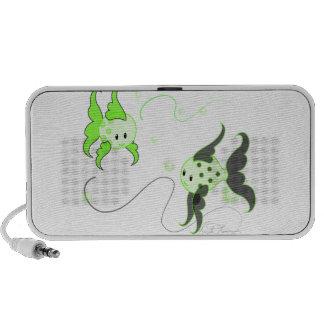 Cute Kawaii Fishies Doodle Speaker Green Light BG