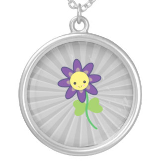 CUTE Kawaii  FLOWER Character Round Pendant Necklace