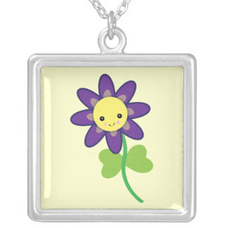 CUTE Kawaii  FLOWER Character Square Pendant Necklace