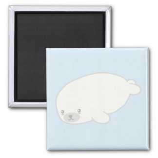 Cute, Kawaii Fluffy Baby Seal Pup 2 Inch Square Magnet