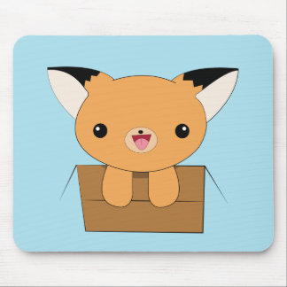 Cute kawaii fox in a box mousepad