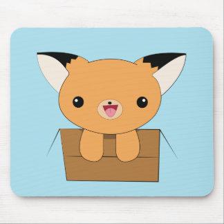Cute kawaii fox in a box mousepad