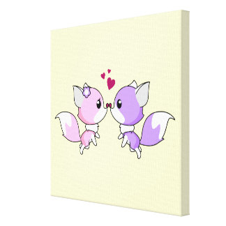 Cute kawaii foxes cartoon in pink and purple girls canvas print