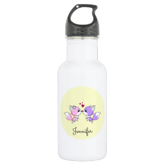 Cute kawaii foxes cartoon in pink and purple girls water bottle