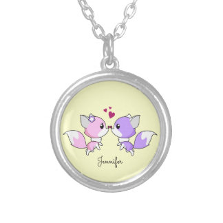 Cute kawaii foxes cartoon in pink and purple name silver plated necklace