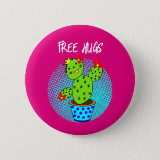 Cute Kawaii Free Hugs Smiling Cactus Plant Graphic Pinback Button