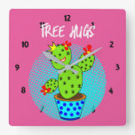 Cute Kawaii Free Hugs Smiling Cactus Plant Graphic Square Wall Clock