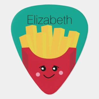 Cute Kawaii French Fries With Custom Name Guitar Pick by MyPetShop at Zazzle