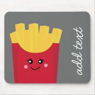 Cute Kawaii French Fries with Custom Name Mouse Pad