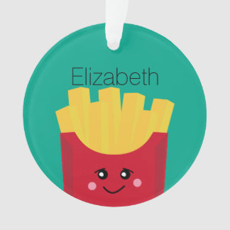 Cute Kawaii French Fries with Custom Name Ornament