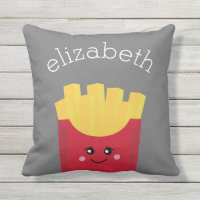 Cute Kawaii French Fries with Custom Name Outdoor Pillow