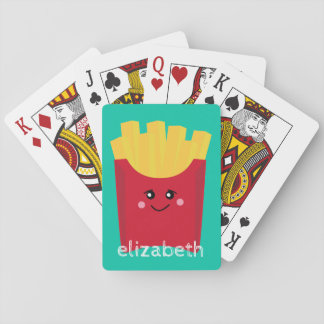 Cute Kawaii French Fries with Custom Name Playing Cards