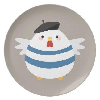 Cute Kawaii French Hen Illustration Plate