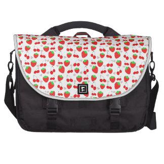 Cute Kawaii fruits strawberry cherry hand drawn Laptop Bag