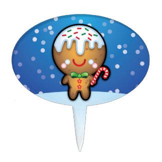 Cute Kawaii Gingerbread Man Christmas Cake Toppers
