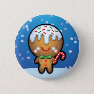 Cute Kawaii Gingerbread Man Christmas Pin Badge