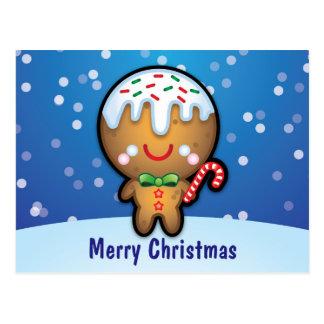Cute Kawaii Gingerbread Man Christmas Postcard