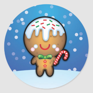 Cute Kawaii Gingerbread Man Christmas Stickers