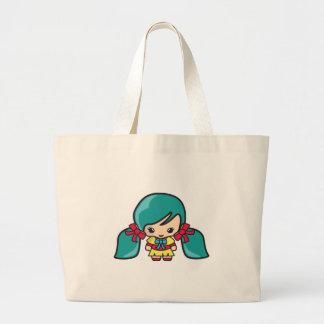 Cute Kawaii Girl Kid With Blue Hair Pigtails Jumbo Tote Bag