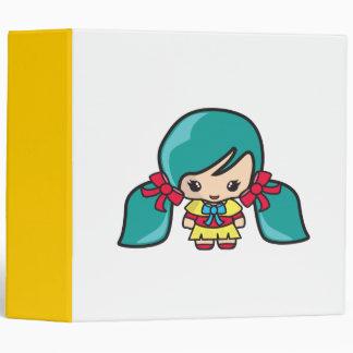 Cute Kawaii Girl Kid With Blue Hair Pigtails 3 Ring Binder