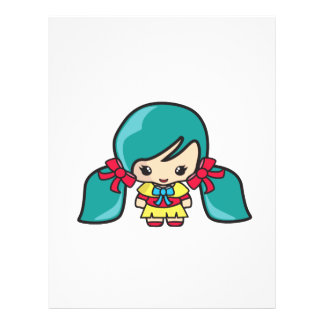 Cute Kawaii Girl Kid With Blue Hair Pigtails Flyer