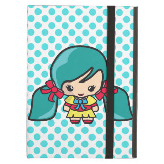 Cute Kawaii Girl Kid With Blue Hair Pigtails iPad Air Cover