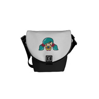Cute Kawaii Girl Kid With Blue Hair Pigtails Courier Bags