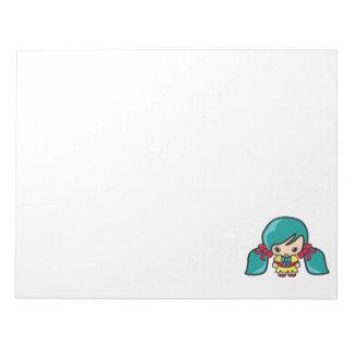 Cute Kawaii Girl Kid With Blue Hair Pigtails Memo Notepad
