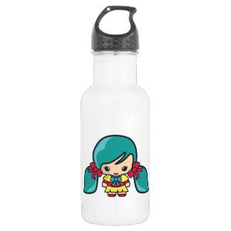 Cute Kawaii Girl Kid With Blue Hair Pigtails 18oz Water Bottle