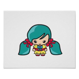 Cute Kawaii Girl Kid With Blue Hair Pigtails Print