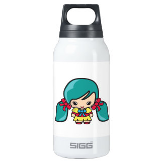Cute Kawaii Girl Kid With Blue Hair Pigtails 10 Oz Insulated SIGG Thermos Water Bottle