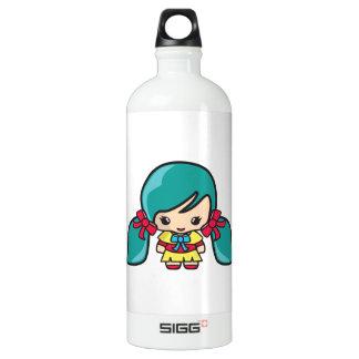 Cute Kawaii Girl Kid With Blue Hair Pigtails SIGG Traveler 1.0L Water Bottle
