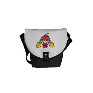 Cute Kawaii Girl Kid With Strawberry Hat Courier Bag