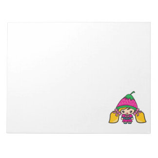 Cute Kawaii Girl Kid With Strawberry Hat Notepads