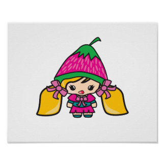 Cute Kawaii Girl Kid With Strawberry Hat Poster
