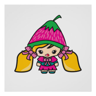 Cute Kawaii Girl Kid With Strawberry Hat Posters