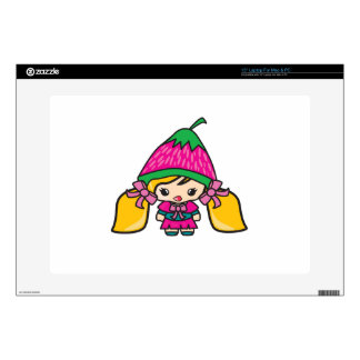 "Cute Kawaii Girl Kid With Strawberry Hat Decals For 15"" Laptops"