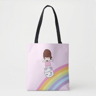 Cute Kawaii Girl on Rainbow w Marshmallow Tote