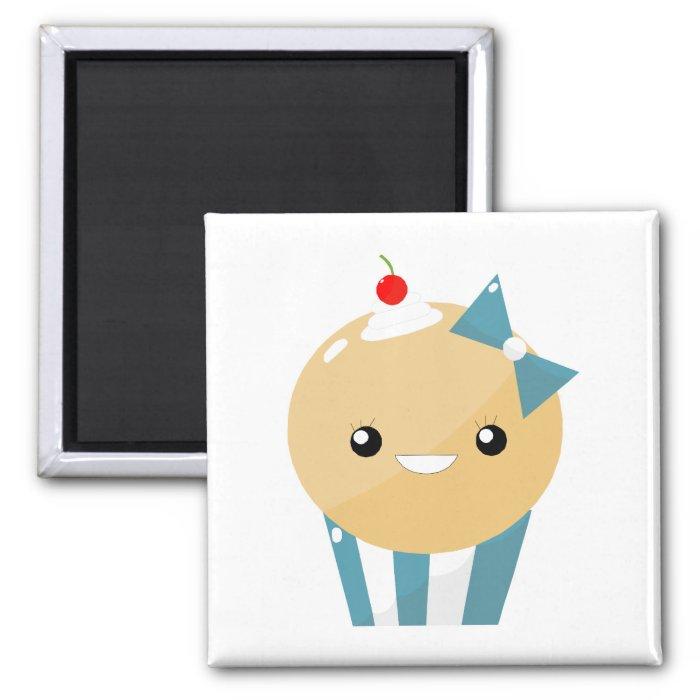 Cute Kawaii Girly Muffin Cupcake 2 Inch Square Magnet
