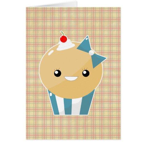 Cute Kawaii Girly Muffin Cupcake Greeting Card