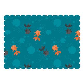 Cute kawaii goldfish pond card