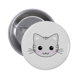 Cute Kawaii Gray Tabby Cat Cartoon Button