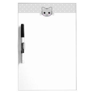 Cute Kawaii Gray Tabby Cat Cartoon Dry-Erase Board