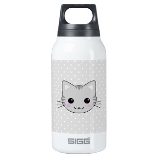 Cute Kawaii Gray Tabby Cat Cartoon Insulated Water Bottle
