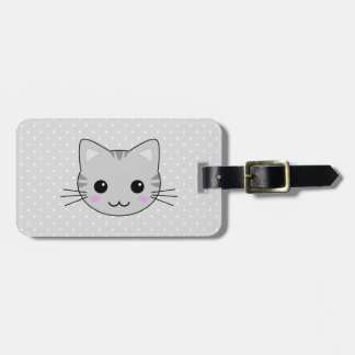 Cute Kawaii Gray Tabby Cat Cartoon Luggage Tag