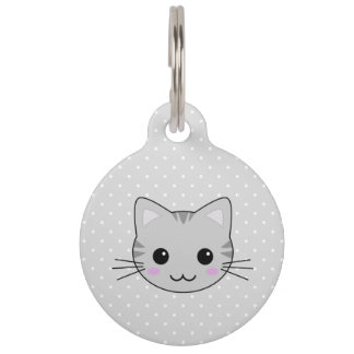 Cute Kawaii Gray Tabby Cat Cartoon Pet ID Tag